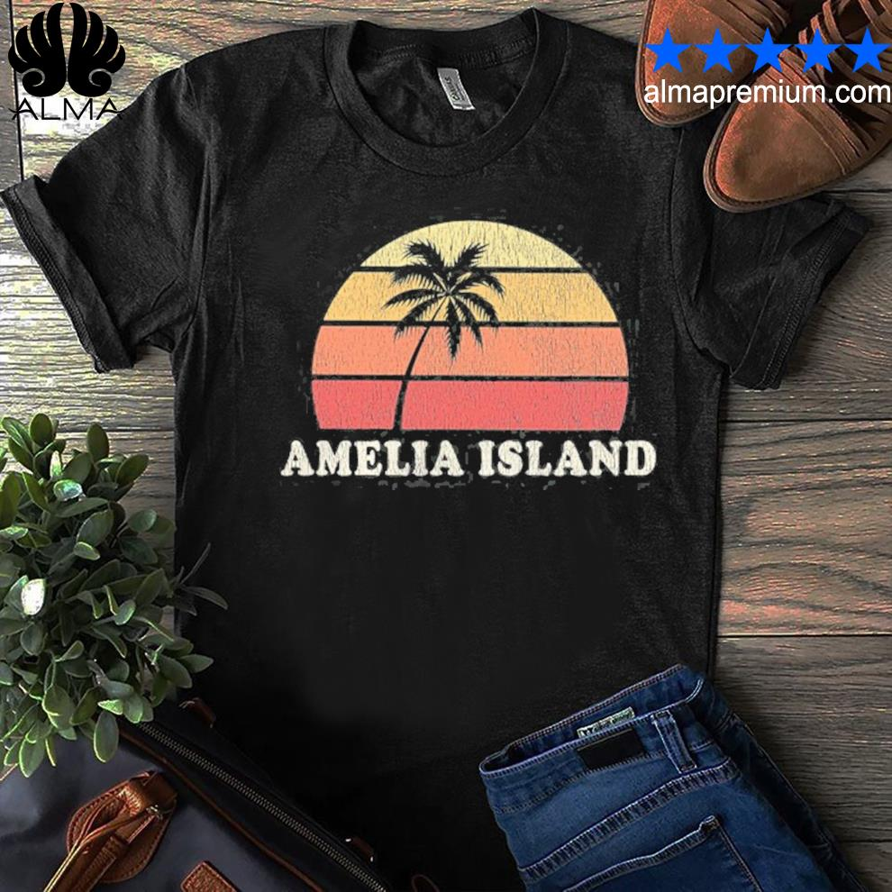 Amelia island fl vintage 70s retro throwback design shirt