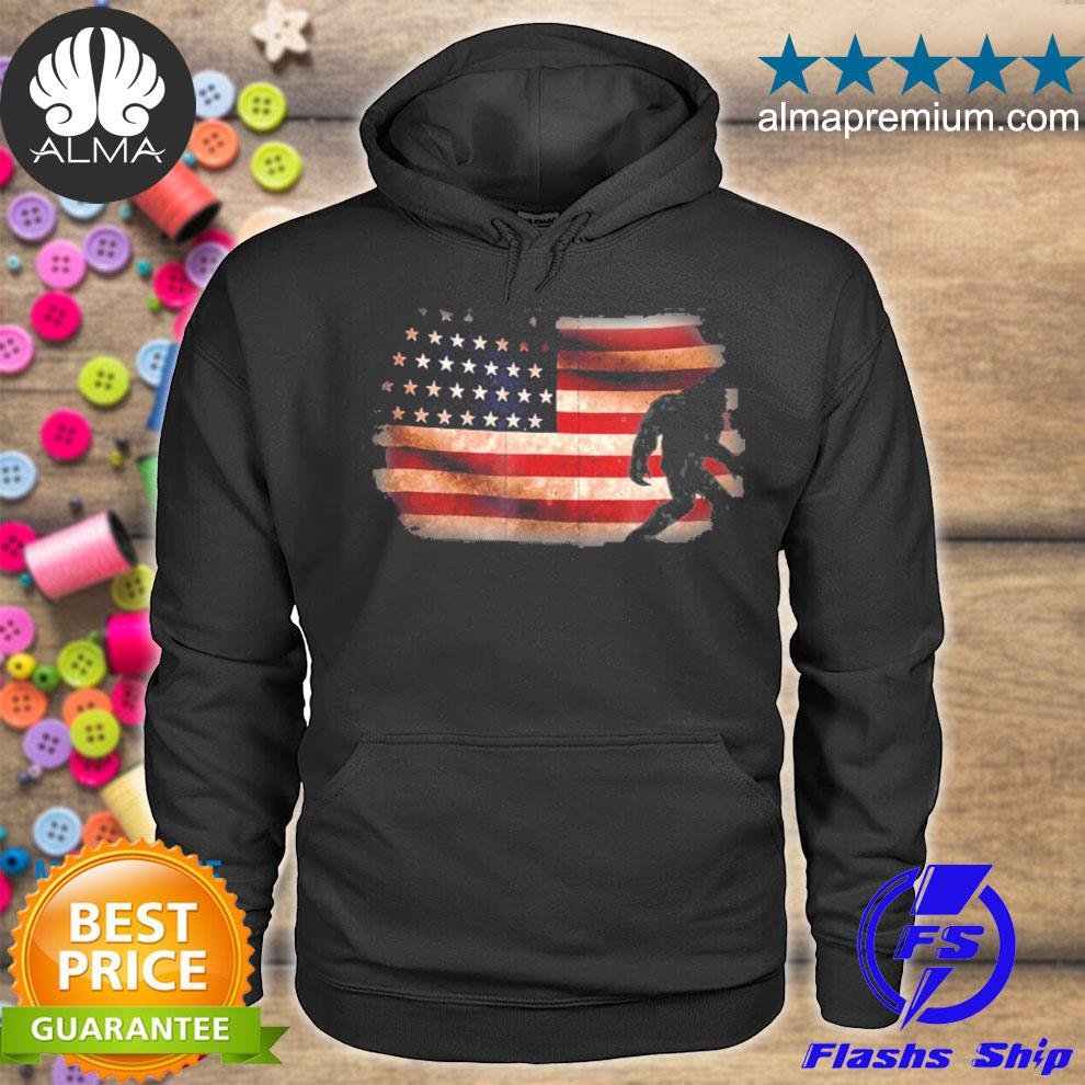 American flag bigfoot funny 4th of july sasquatch s hoodie