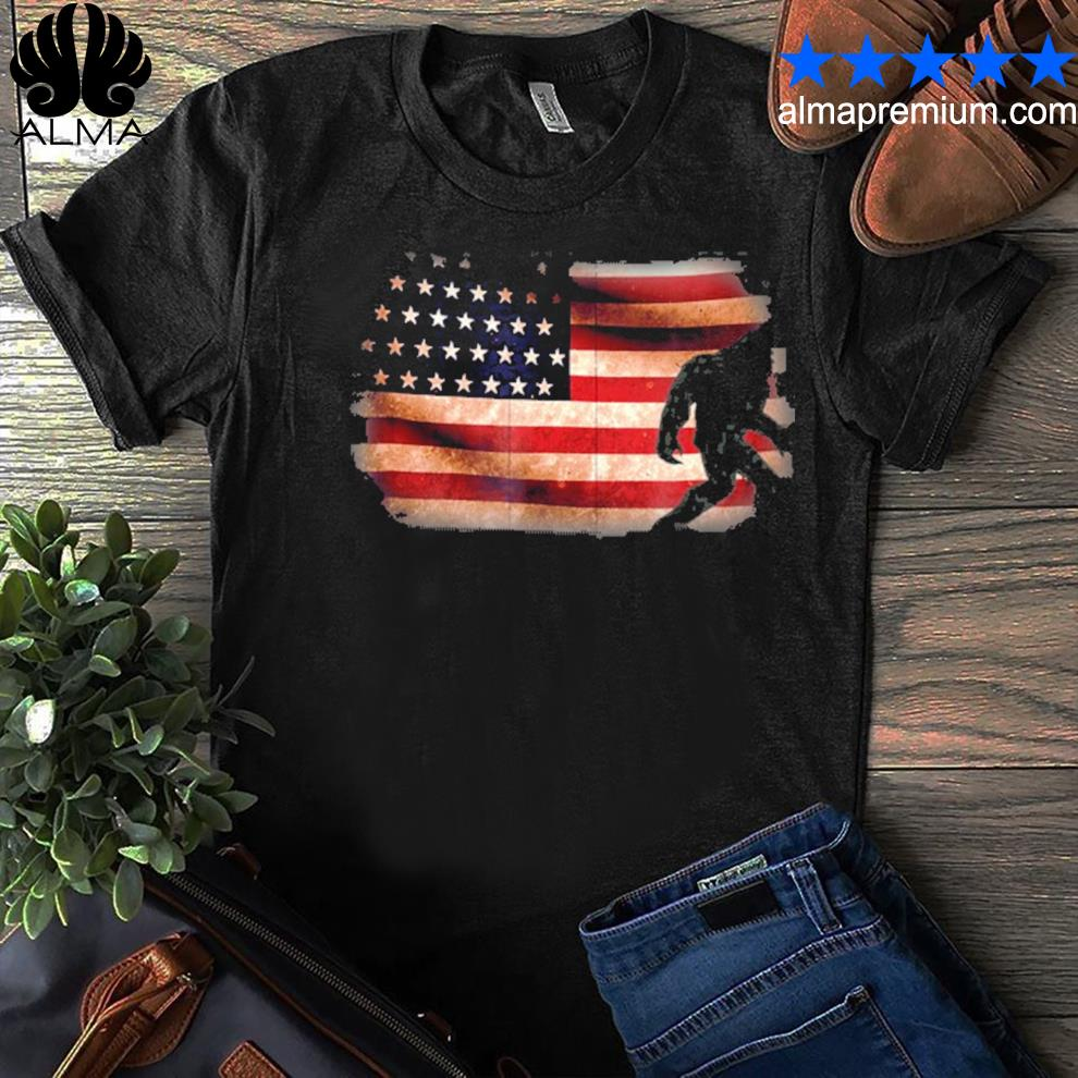 American flag bigfoot funny 4th of july sasquatch shirt