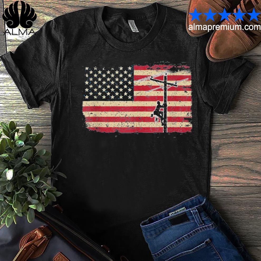 American flag lineman I patriotic electrician shirt