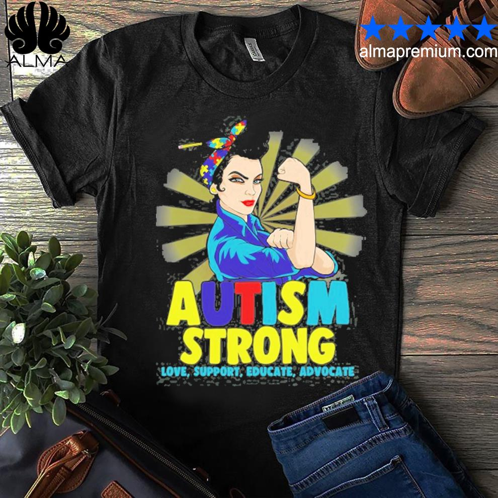 Autistic autism awareness strong for women mom shirt