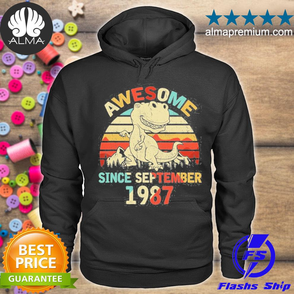 Awesome since september 1987 34th dinosaur birthday boys kid s hoodie