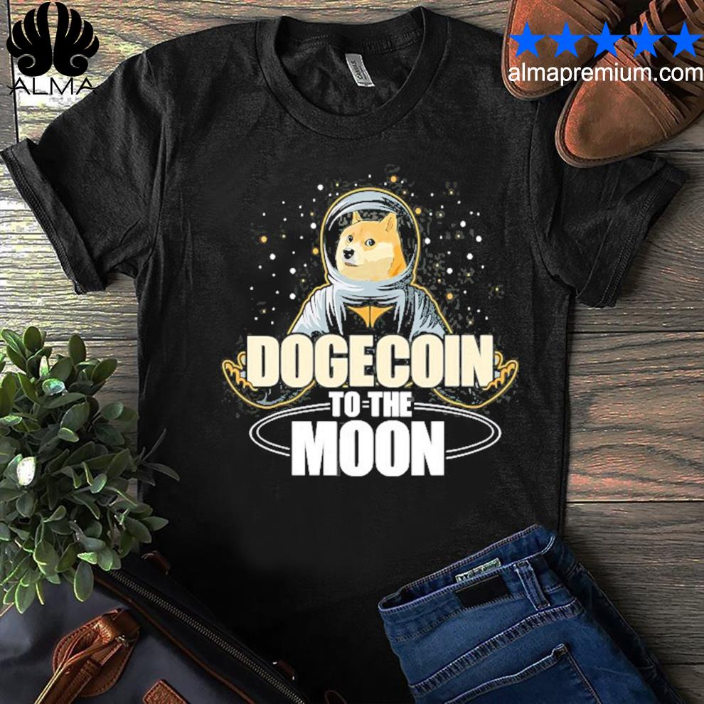 Dogecoin to the moon doge hodl rocket crypto meme shirt