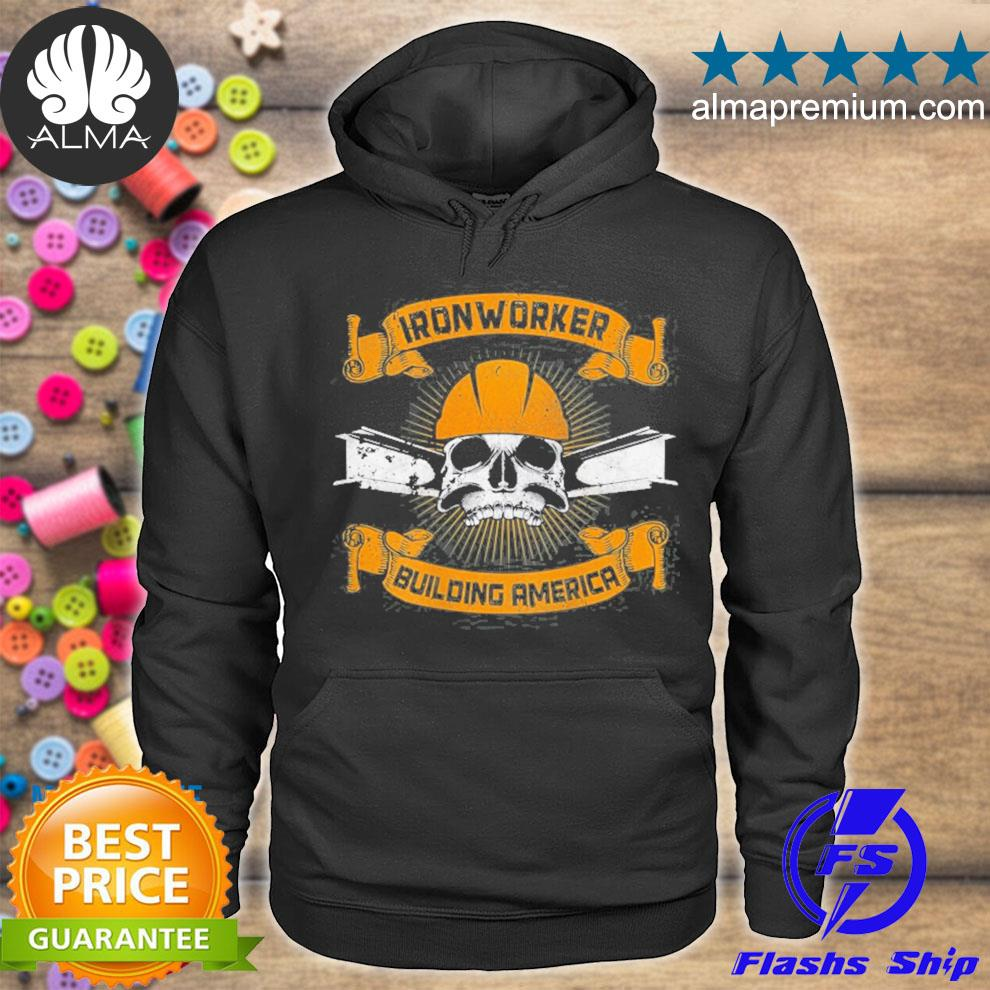 Ironworker union design on back of clothing s hoodie