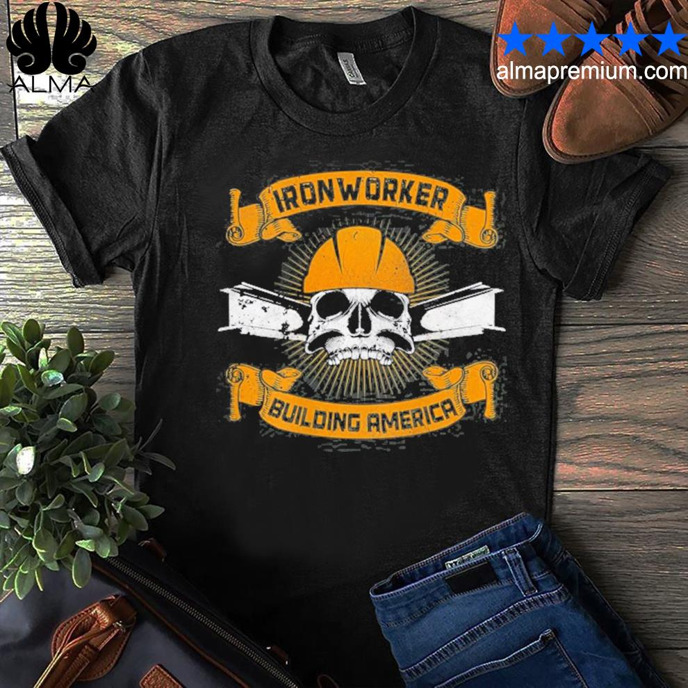 Ironworker union design on back of clothing shirt