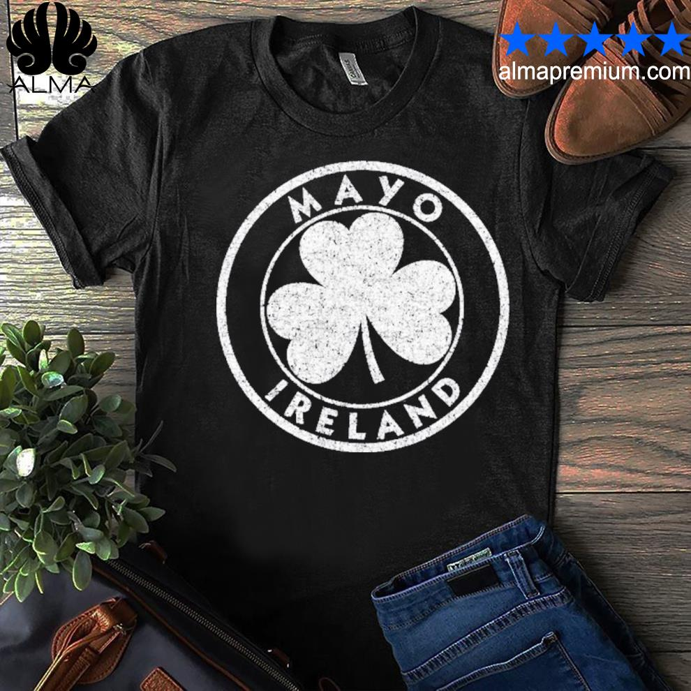 Mayo Ireland vintage shamrock sign distressed white print shirt